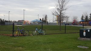 bikes locked to a fence