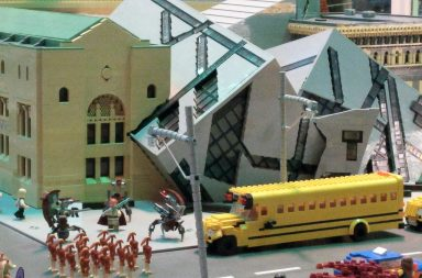 An image of a model of the Royal Ontario Museum built from Lego bricks.