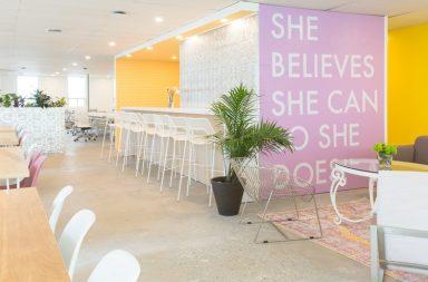 Mural and desk space at Make Lemonade