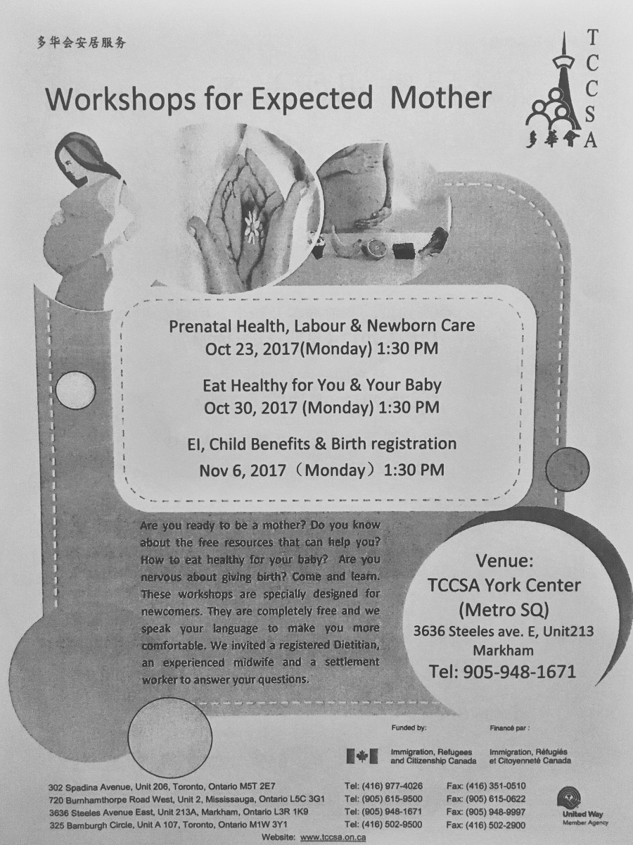Form from TCCSA about workshops for expected mothers