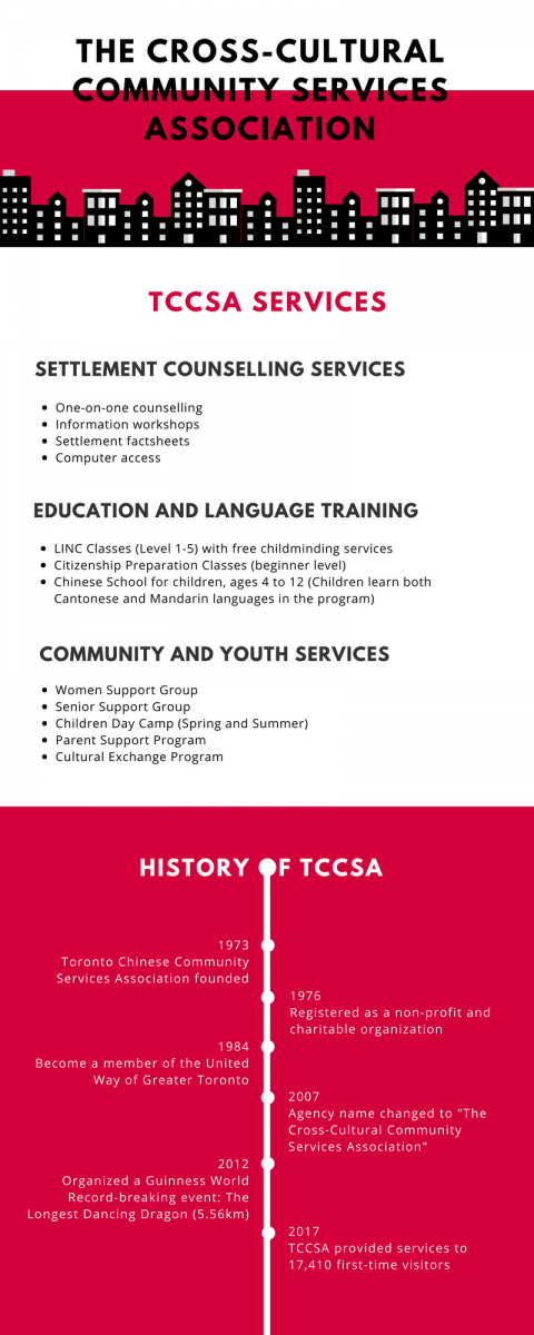 infographic about TCCSA services and a timeline of their history