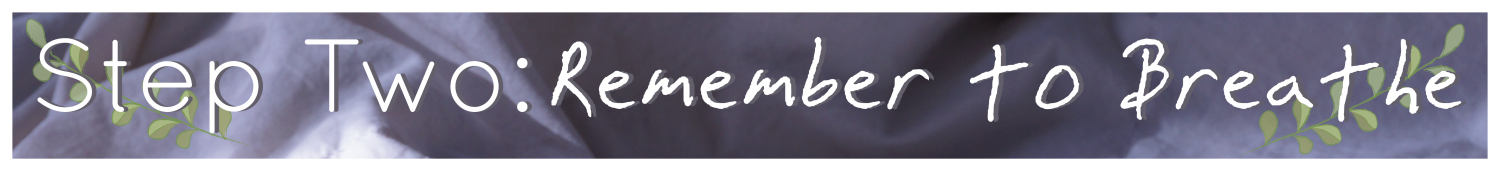 "Image with the words ""Step Two: Remember to Breathe"" with an image of a leaf on it. The background is a purple tinted duvet."