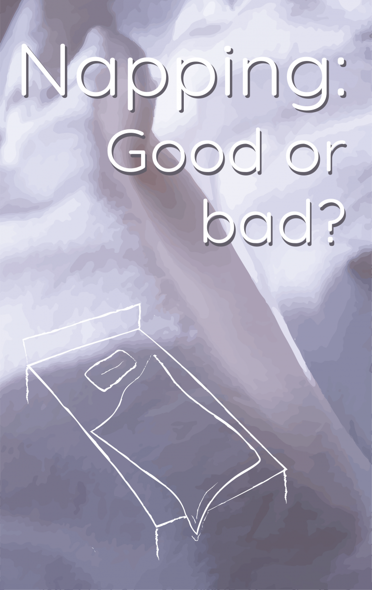 Title image saying: Napping: Good or bad? There is an illustration of a bed on the image with a purple duvet in the background.