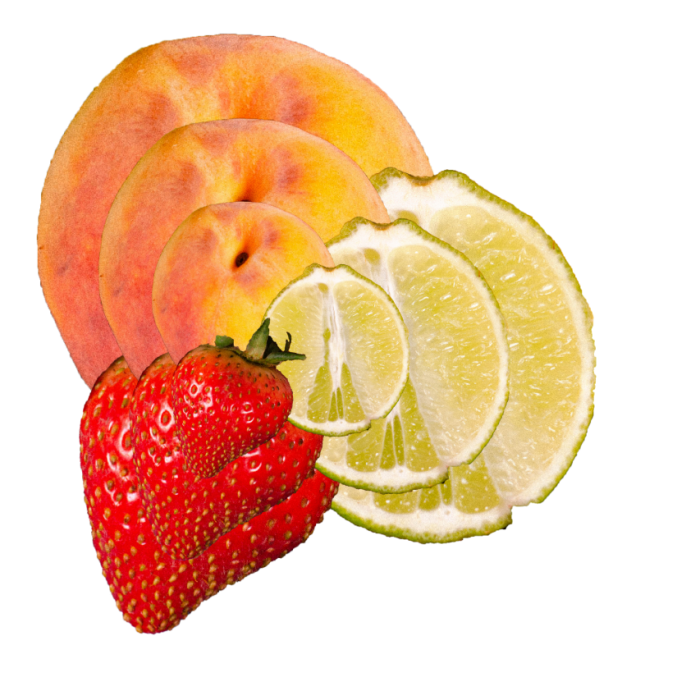 image of peach, lime and strawberry layered on top of each other.