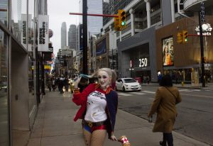 Woman dressed as Harley Quinn