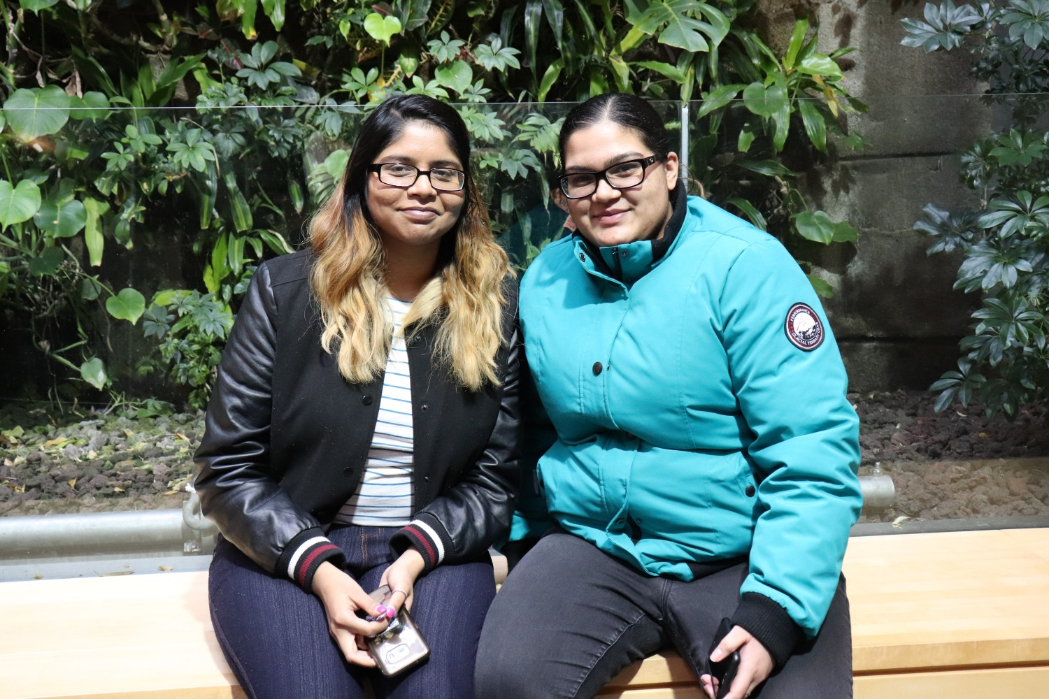 Students Alisha Harinarain and Komal Singh sit by the plant wall in the University of Guelph-Humber.