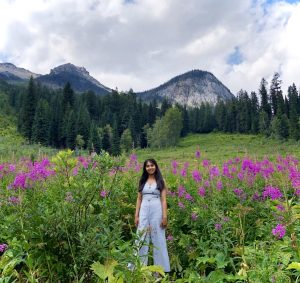 girl in front of mountains