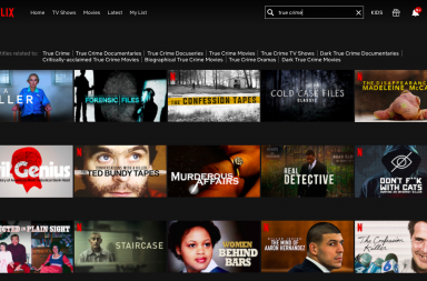 Screengrab of true crime shows available on Netflix