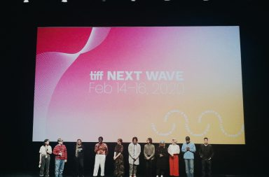 Filmmakers standing on stage at the Young Creators Showcase