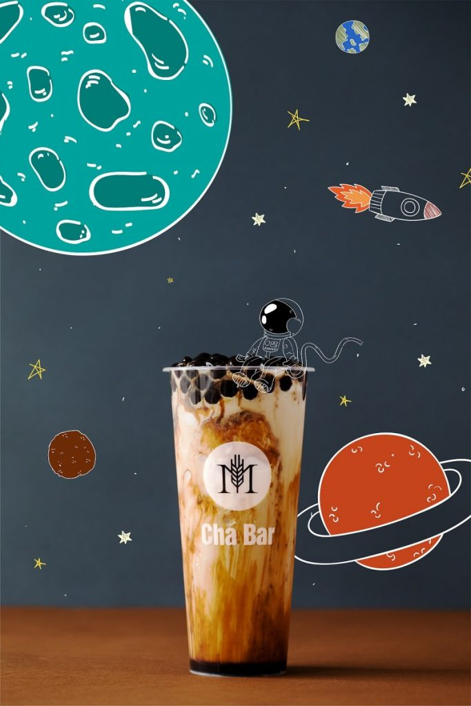 A M Cha Bar brown sugar roasted milk tea with some space animations around it