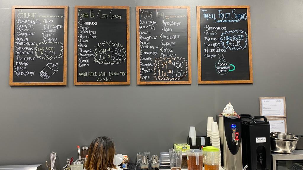 a full menu of drinks at a bubble tea restuarant