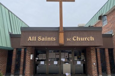 Front doors of All Saints Church in Etobicoke